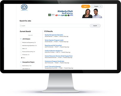 Kimberly Clark Careers Page Displayed on Desktop Monitor